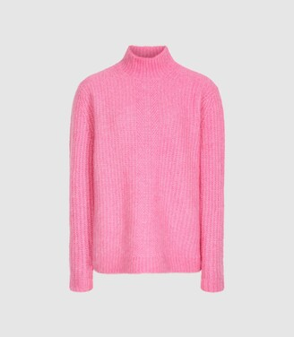 Reiss Elsie - Chunky Ribbed Turtleneck Jumper in Pink