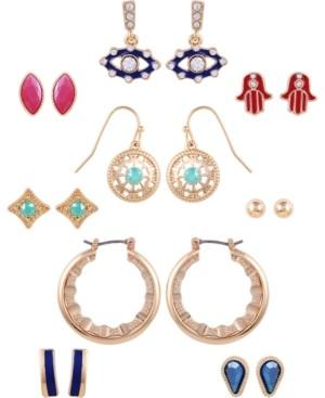 GUESS Gold-Tone 9-Pc. Set Crystal & Stone Spiritual Symbol Earrings