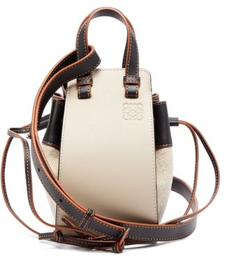 Loewe Hammock Mini Leather And Canvas Cross-body Bag - Ivory Multi