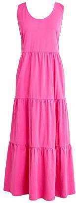 J.Crew Broken-In Tiered Maxi Dress (Neon Flamingo) Women's Clothing