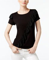 INC International Concepts Ruffled Contrast T-Shirt, Created for Macy's