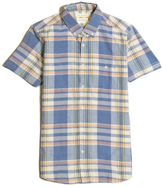 Far Afield Casual Button Short Sleeve Shirt - Salines Check