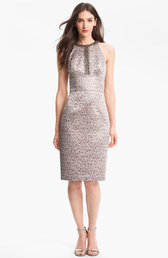 Maggy London Embellished Brocade Sheath Dress