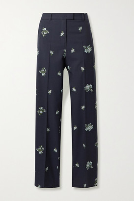 Paul & Joe Cotton-blend Floral-jacquard Straight-leg Pants - Midnight blue
