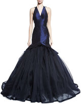 Zac Posen Sleeveless V-Neck Mermaid Gown, Navy