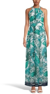 INC International Concepts Inc Palm-Print Halter-Neck Maxi Dress, Created for Macy's