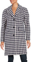 Kate Spade Houndstooth Notch Collar Coat
