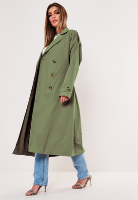 Missguided Tall Khaki Oversized Midaxi Trench Coat