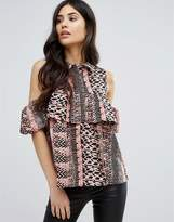 AX Paris Cold Shoulder Printed Frill Blouse