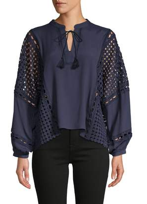 Central Park West Parrot Bay Tassel Blouse