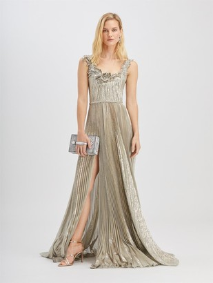 Oscar de la Renta Metallic Fern Embroidered Gown