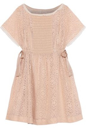 RED Valentino Point D'esprit-trimmed Crochet-knit Cotton-blend Mini Dress