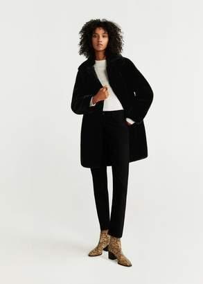 MANGO Lapels faux fur coat chocolate - XXS - Women
