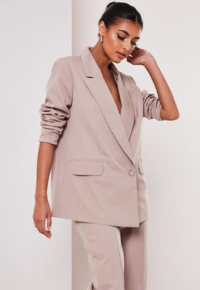 Missguided Mauve Co Ord Wrap Front Oversized Blazer