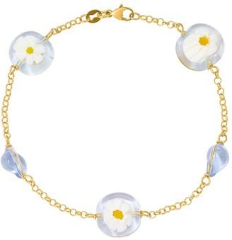 Italian Gold 14K Venice Glass Flower Imprint Bracelet
