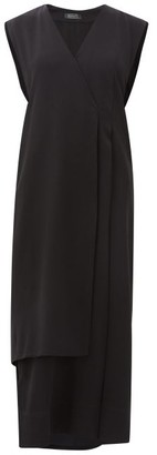 Haight Vest Wrap-front Crepe Dress - Black