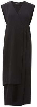 Haight Vest Wrap-front Crepe Dress - Womens - Black