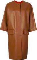 Marni oversized leather lambskin coat - women - Lamb Skin - 40