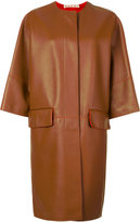 Marni oversized leather lambskin coat - women - Lamb Skin - 42