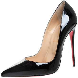 Christian Louboutin Black Patent Leather Pigalle Follies Pointed Toe Pumps Size 41