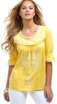 RXB Embroidered Scoop-Neck Peasant Top