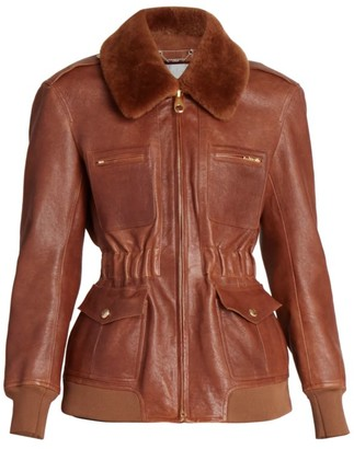 Chloé Shearling-Trimmed Leather Flight Jacket