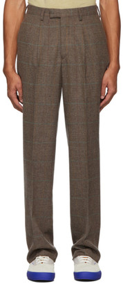 Noah NYC Brown Wool Check Single-Pleat Suit Trousers