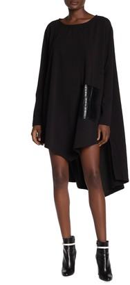 Tov Faux Leather Pocket High/Low Shift Dress