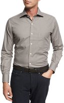 Peter Millar Crown Shipyard Mini-Check Cotton Shirt, Brown