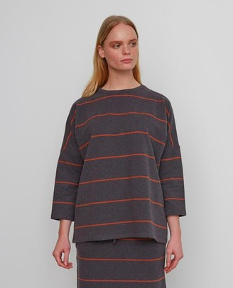 Beaumont Organic Soma Sue Cotton Top In Grey Marl Cinnamon - Grey Marl & Cinnamon / Extra Small