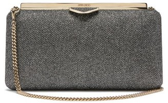 Jimmy Choo Ellipse Glitter Lame Clutch - Dark Grey