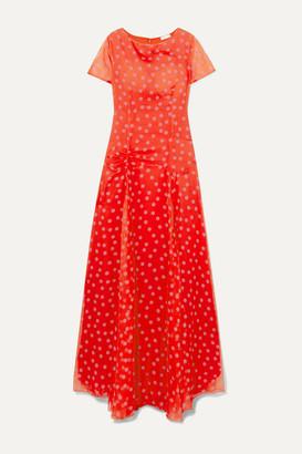 Eywasouls Malibu Stacey Polka-dot Chiffon Maxi Dress - Red