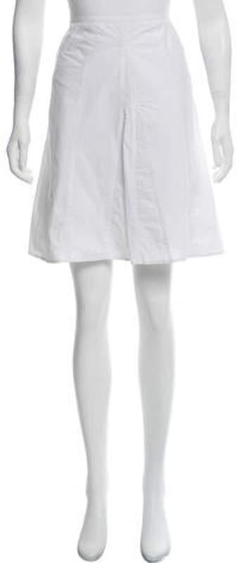 Burberry Striped Knee-Length Skirt White Striped Knee-Length Skirt