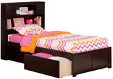 Atlantic Newport Espresso Twin Flat Panel Foot Board with 2 Urban Bed Drawers