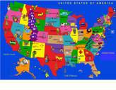 Kidsworld Kids World Fun Learning USA Cartoon Map Area Rug Rug