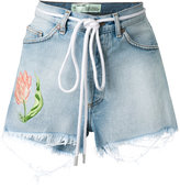 Off-White embroidered flower shorts - women - Cotton - 26