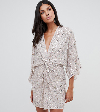 Asos Tall ASOS DESIGN Tall scatter sequin knot front kimono mini dress
