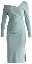 Bardot Paisie Asymmetric Dress With Side Split In Teal