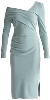 Paisie Asymmetric Bardot Dress With Side Split In Teal