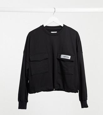 Sixth June Plus cropped cargo sweatshirt with drawstring waist in black