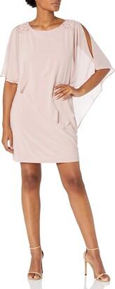SL Fashions Women's Foil Cape Chiffon Dress