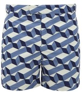 Frescobol Carioca Cube-print Tailored-fit Swim Shorts - Mens - Blue Multi
