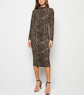 New Look AX Paris Snake Print Bodycon Midi Dress