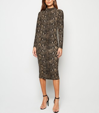 New Look AX Paris Snake Print Bodycon Midi Dress