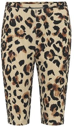 Thierry Mugler Leopard-print compression biker shorts