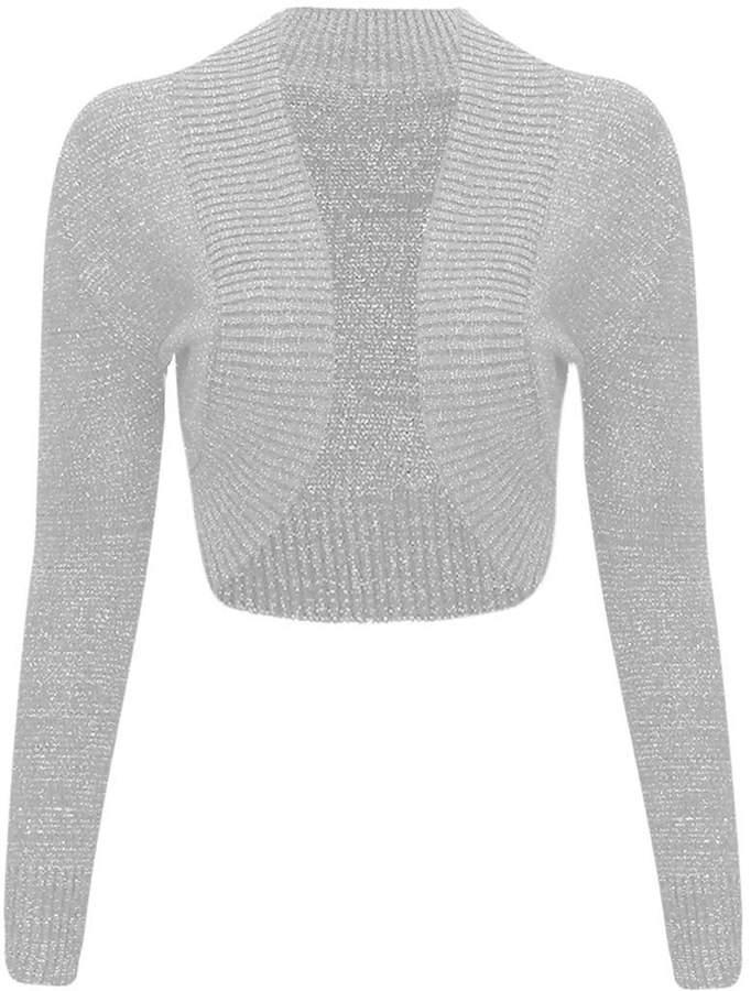 Thever Women Ladies Long Sleeve Knitted Metallic Lurex Shrug Cardigan Bolero Crop Top
