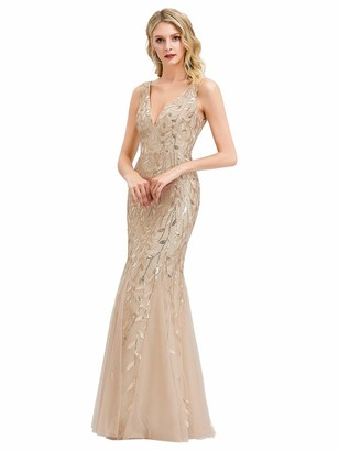 Ever Pretty Ever-Pretty Women's Sexy V Neck Sleeveless Elegant Floor Length Long Mermaid Bridesmaid Dresses Navy Blue 8UK