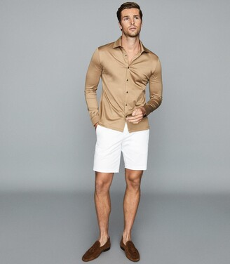Reiss Hendon - Mercerised Cotton Shirt in Camel