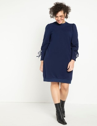 ELOQUII Lace Up Sleeve Sweatshirt Dress