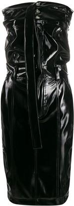 Unravel Project strapless varnished dress